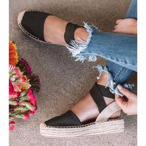 BETH Ankle wrap Espadrille- BLACK